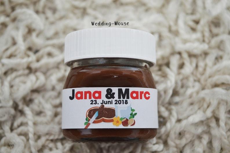 Giveaway Gastgeschenk Nutella Gift Favors Adhesive Favours Wedding Für Namen Personalised 25x Sticker Etiketten 25g v76gyIYbf