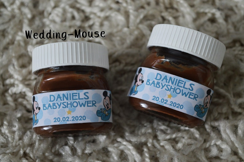 25x Nutella mini labels for 25g guest gift baby shower baby shower baby party boy Mickey Mouse Disney Favor party favor Micky Baby