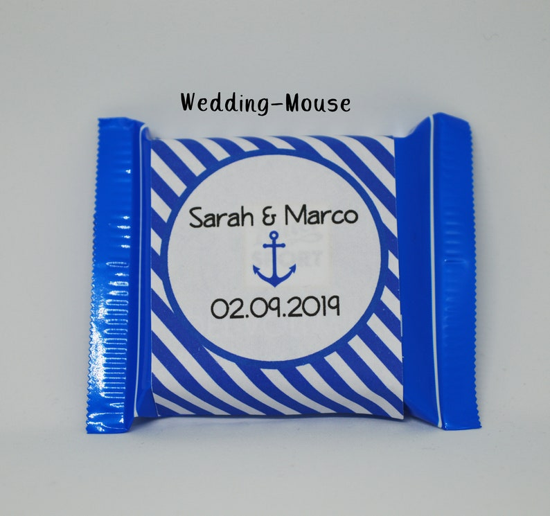 25x Ritter Sport Mini Guest Gift Wedding Maritim Nautical Weddingfavor Wedding Favour Gift Sticker Label