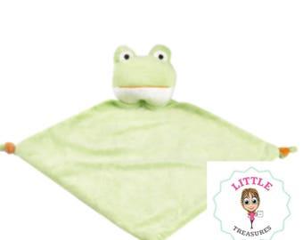 Personalised frog green cubbie comforter