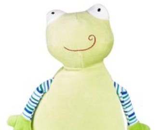 Personalised Embroidered green frog pastel cubbie