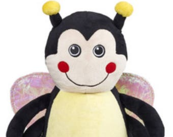 Personalised bumble bee embroidered cubbie