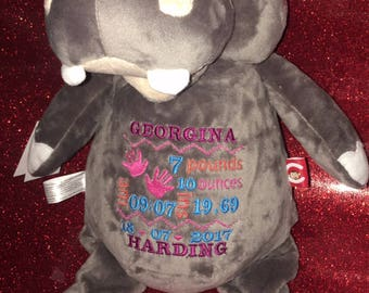 Personalised hippo embroidered cubbie