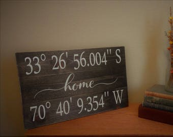 16x30 pallet rustic wood home longitude and latitude sign
