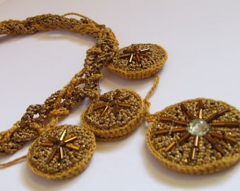 "Crocheted necklace ""Gold of the Aztecs"""
