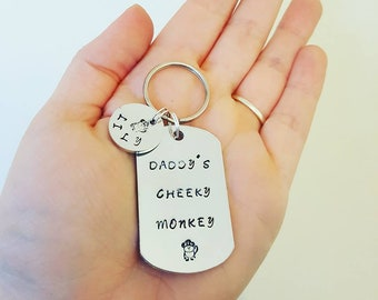 daddy keyring, grandad keyring, cheeky monkey, personalised gift, gift for dad, daddy present, gift for him, fathers day, daddy's monkeys
