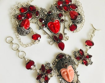 VINTAGE PRINCESS RED Necklace & bracelet