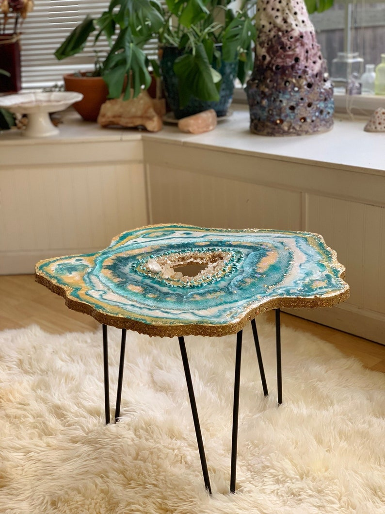Delicieux Custom Crystal Coffee Table, Geode, Side Table, Small, Boho Chic Decor,  Statement Piece