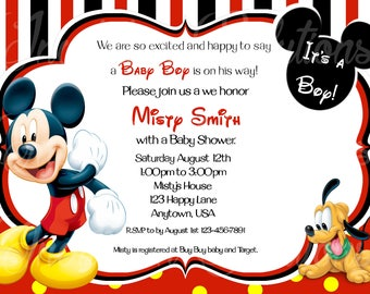 Mickey baby shower etsy mickey and baby pluto shower invitation disney mickey mouse baby shower invite its a boy filmwisefo
