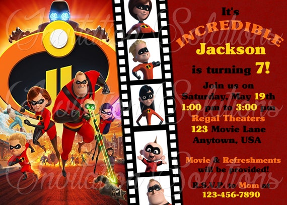 The Incredibles 2 Birthday Party Invitation Movie Themed