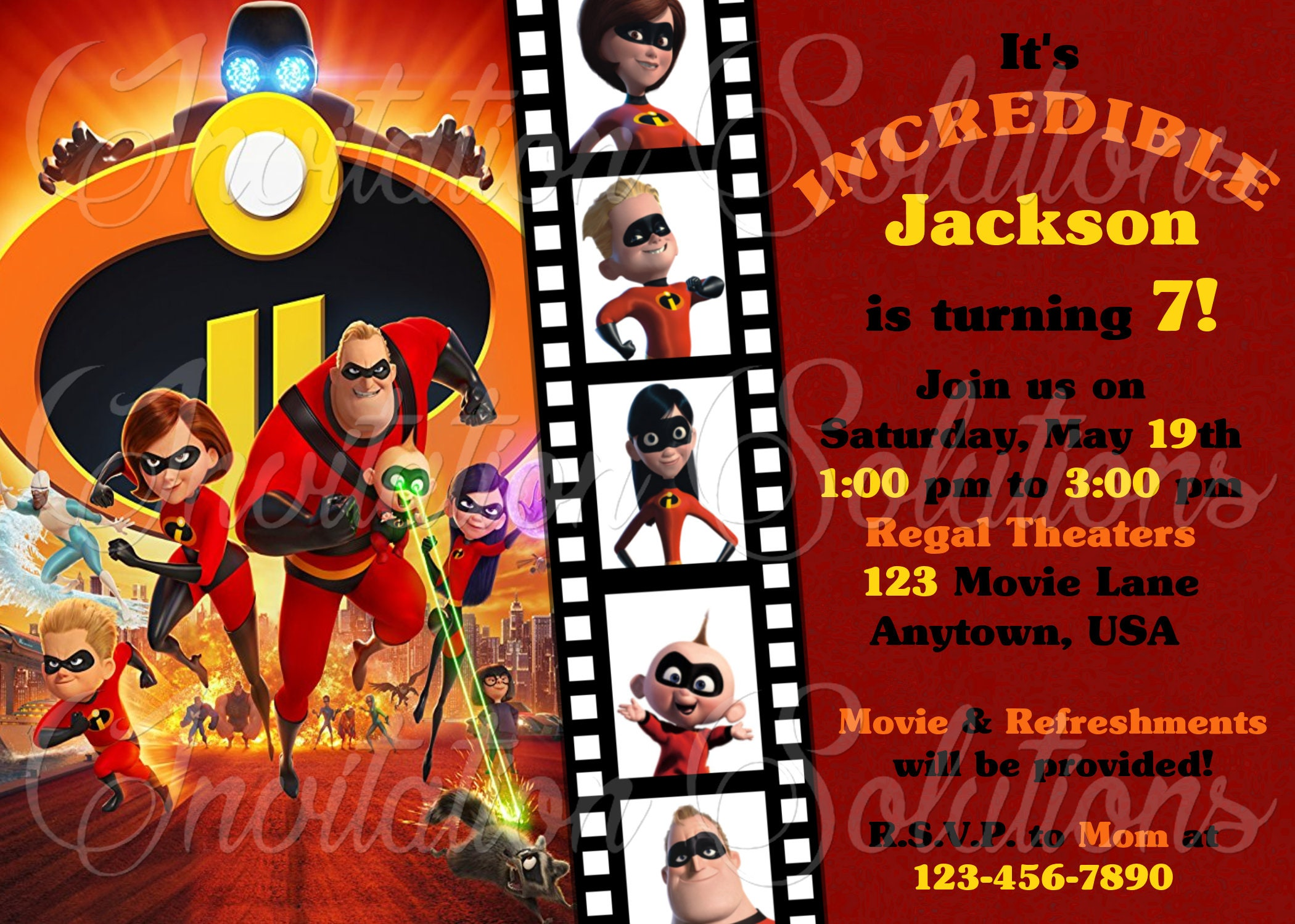 The Incredibles 2 Birthday Party Invitation/ Movie Themed | Etsy