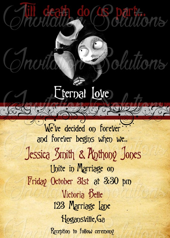 Nightmare Before Christmas Themed Wedding Invitation Suite Etsy