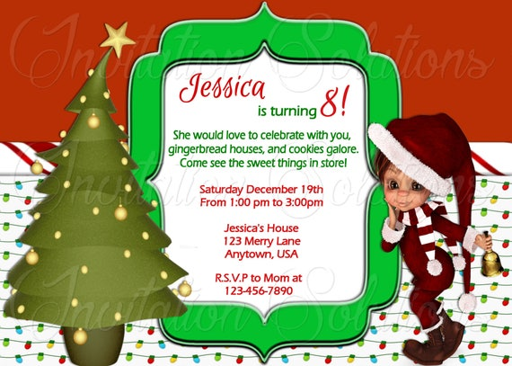 adorable christmas elf and tree party invitation christmas etsy