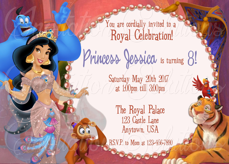 Princess Jasmine Birthday Party Invitation And