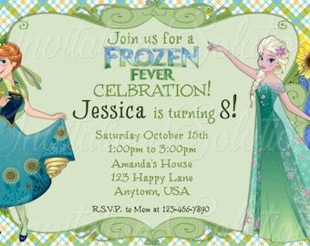 Frozen Fever Elsa and Anna Birthday Party Invite/ Princess Anna and Queen Elsa Party Invitation
