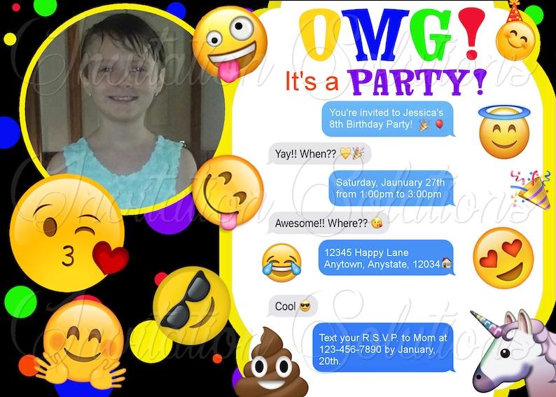 Emoji Themed Birthday Party Invitation With Photo Childs