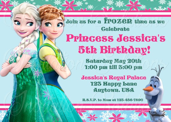 Frozen Themed Birthday Party Invitation Featering Elsa Anna Etsy