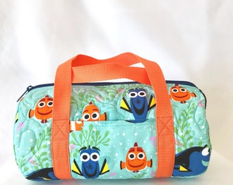 286f0a369ee Nemo and Dory Duffle Bag   Disney theme tote   Disney tote   Disney travel  bag   toy duffle bag   Vacation bag   Child tote   quilted bag