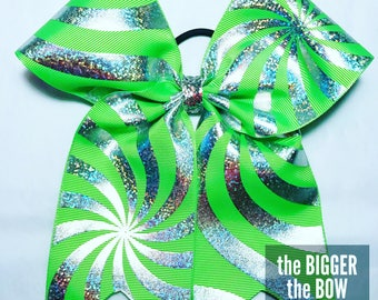Lime Green and Silver Holographic Swirl Hair Bow