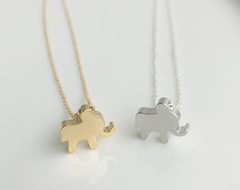 Gold Elephant Necklace, Elephant Charm Necklace, Elephant Jewelry, Gift idea
