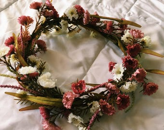 Generosity Flower Crown With Small Pink and Cream Flowers