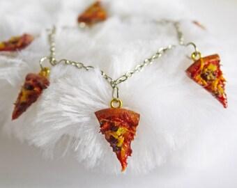 Pizza Charm Bracelet   Polymer Clay Bracelet   Kawaii Jewelry   Food Jewelry   Pepperoni Pizza Jewelry, Snack Jewelry, Cute Bracelet