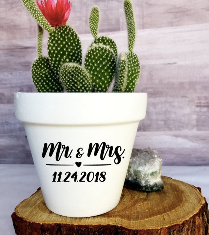 image 0 ... & Mr. \u0026 Mrs. with Wedding Date Wedding Flower Pot Wedding   Etsy