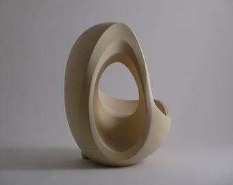 Abstract Wood Sculpture - Non-Continuity No.1 - 2021 - Yellow Cedar -  Original, Dynamic, Contemplative, Refined, Gradated, Hollow, Concave