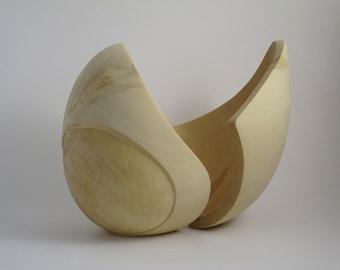 Abstract Wood Sculpture - The Emerging Of Silence No.1 - 2020 - Yellow Cedar -  Concave, Contemporary, Original, Natural, Smooth, Open