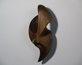 Wooden Abstract Wall Art Sculpture - Wall Hanging Face No.4 - 2021 - Carved From Black Walnut w/ Acrylic and Wax - Contemporary, Original