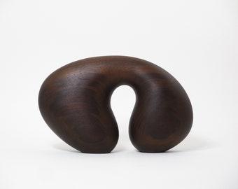 Abstract Wood Sculpture - Arch No.15 - 2021 - Peruvian Walnut, Wax -  Contemporary, Original, Organic, Natural, Smooth, Rich, Chocolate,
