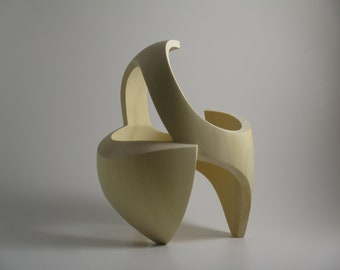 Abstract Wood Sculpture - The Singular Ground No.2 - 2021 - Yellow Cedar -  Contemporary, Original, Dynamic, Refined, Open, Embracing