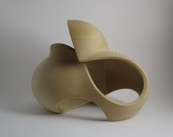 Abstract Wood Sculpture - Immeasurable Perception No.1 - 2020 - Western Red Cedar -  Concave, Contemporary, Original, Dynamic, Smooth, Open