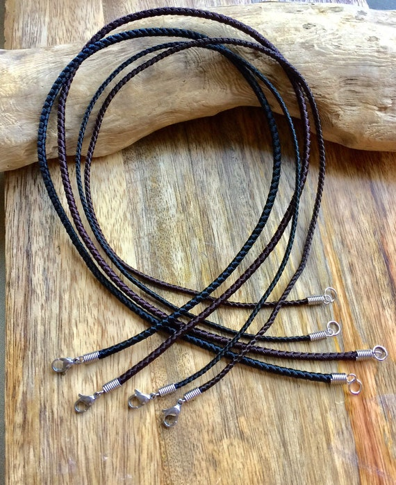 """3MM BLACK LEATHER BRAIDED TWIST THONG CORD NECKLACE CHAIN LOBSTER CLASP 18-24 /"""""""