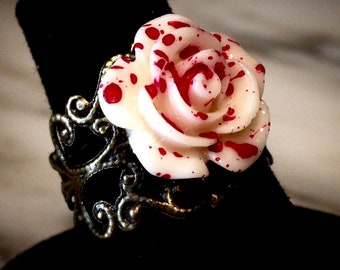 White and Red Spattered Rose adjustable ring.Alice In Wonderland.Cute!