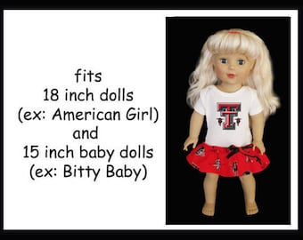 Texas Tech Red Raiders Football Dress and Hair Bow That Fits American Girl 18 Dolls