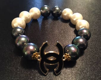black and white CC pearl gemstone handmade bracelet