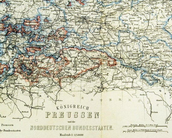 Free Shipping Vintage Antique Map 1867 map of Prussia and other German on usa states map, hungary states map, red states map, un states map, so states map, union states map, best states map, hot states map, german states map,
