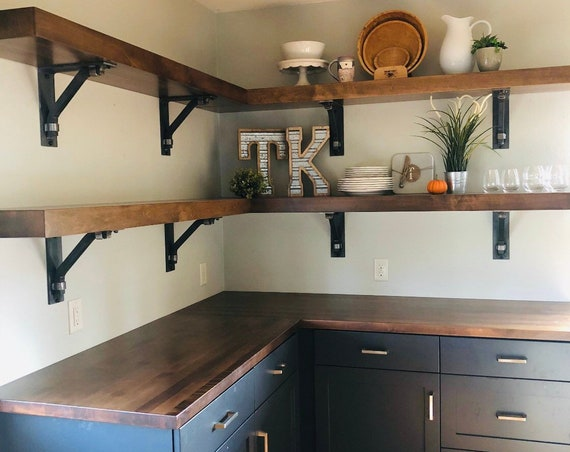 """Industrial Style Shelf Brackets 3"""" wide with 1"""" square support bar and wraps - SOLD INDIVIDUALLY"""