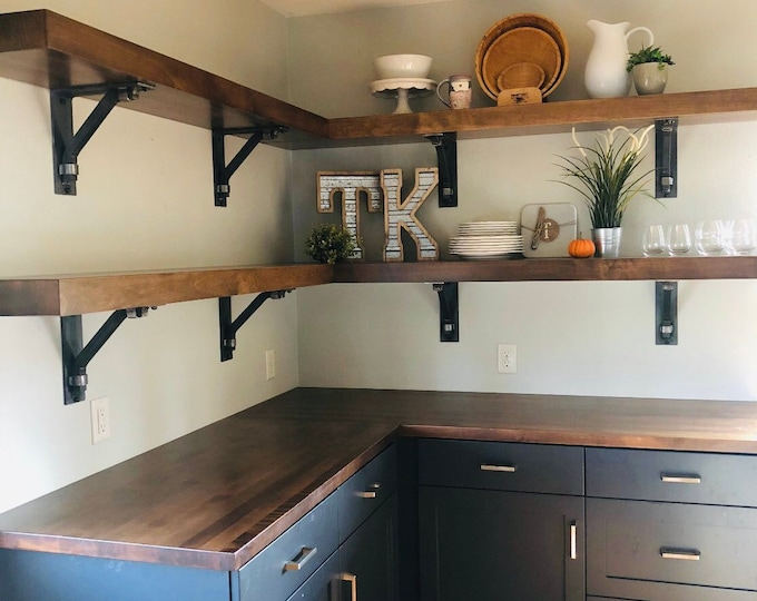 "Industrial Style Shelf Brackets 3"" wide with 1"" square support bar and wraps - SOLD INDIVIDUALLY"