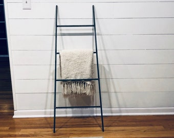 "Tapered Decorative Metal Blanket Ladder - Farmhouse Ladder made from 1/2"" solid square bar"