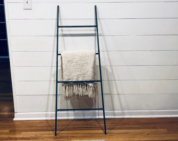 """Tapered Decorative Metal Blanket Ladder - Farmhouse Ladder made from 1/2"""" solid square bar"""