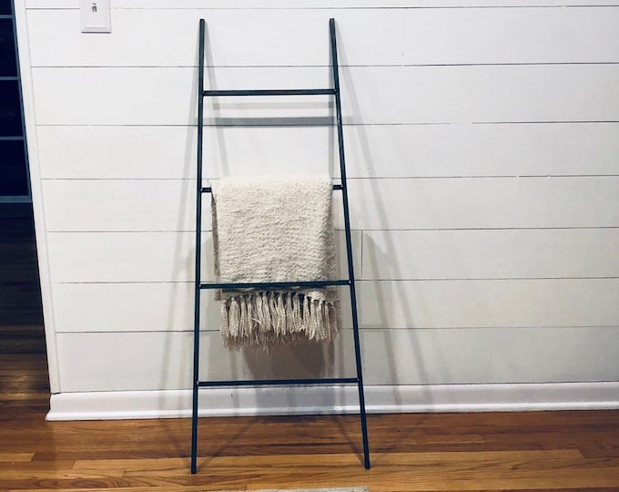 "Decorative Metal Blanket Ladder - Farmhouse Ladder made from 1/2"" solid square bar; can be made parallel or tapered"