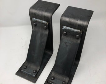 "Modern Farmhouse Mantel Brackets 4"" Wide with 3"" Support Bar with Rivets"
