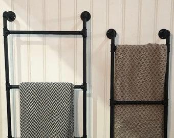 Wall Mounted Ladder, Blanket Ladder, Wall Mounted Blanket Ladder, Industrial Pipe Ladder, Wall Mounted Towel Rack