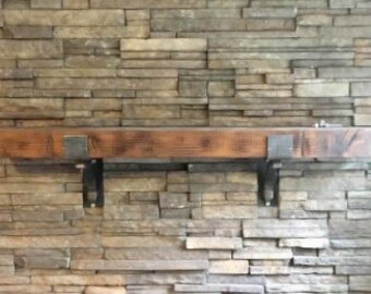 "Rustic Mantel Brackets 4"" wide with 1"" solid square support bar - SOLD INDIVIDUALLY"