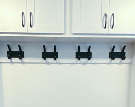 "Wall Mounted Hooks - 3"" wide backplate with 1"" wide hooks"