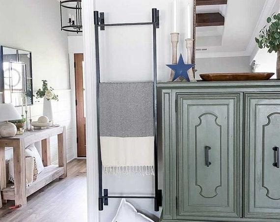 Best Seller Wall Mounted Blanket Ladder, Industrial Metal Ladder, Pool Towel Bar, Decorative Blanket Ladder, Farmhouse Ladder, Rustic Deccor