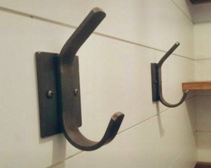 Metal Wall Hooks for Wall, Rustic Hooks for Bathroom, Black Metal Hook, Steel Wall Hook, Heavy Duty Wall Hook, Black Coat Hooks Wall Mounted