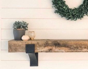 """The Clermont Farmhouse Shelf Bracket - 4"""" Wide with 3"""" curved support bar - Rivets Added - Sold Individually"""